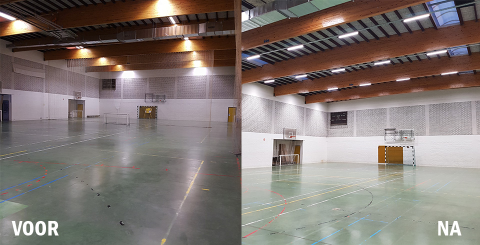 70 percent saving on energy bill after relighting sports hall Waregem - ©Voltron®